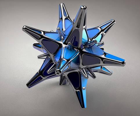 Abstract Metallic Blue Star