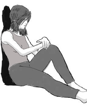 Girl Sitting Sketch