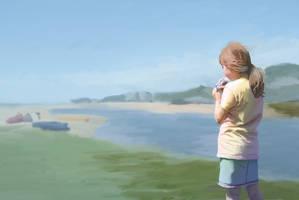 Girl at beach by sunteam