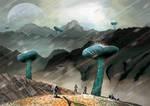 Alien Landscape with Giant Mushrooms