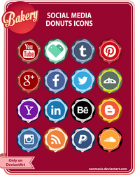 Social Media Donuts Icons for sale
