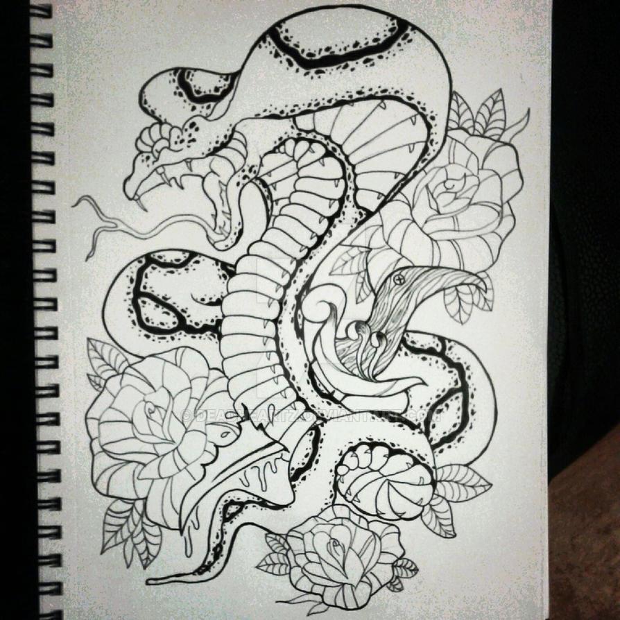 fb34f38d0bbec Neotraditional Snake by deadheartz on DeviantArt