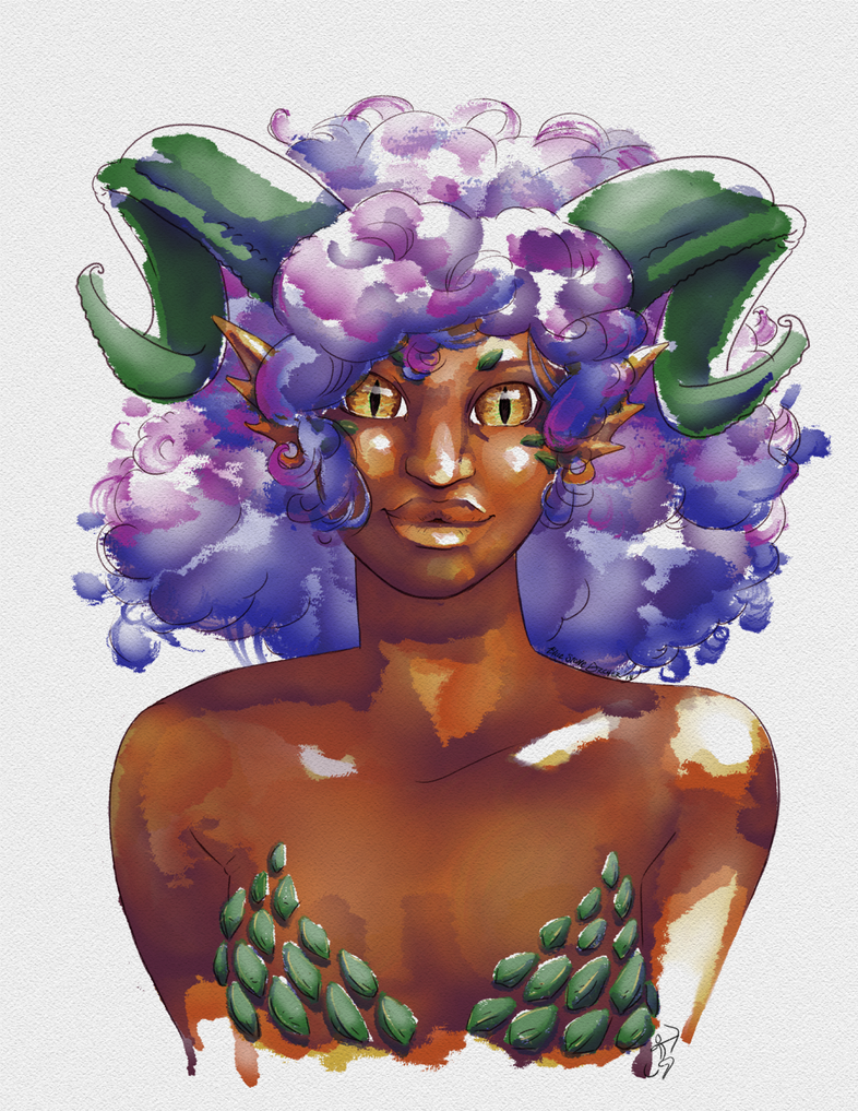 Watercolor Dragongirl by BlueStoneArcher