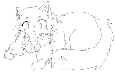 Mother And Kits Lineart [new]