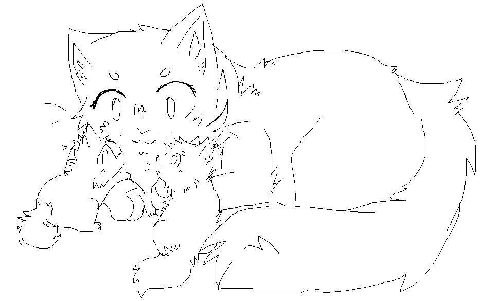 Mother And Kits Lineart [new] by Sparkylovecupcakes
