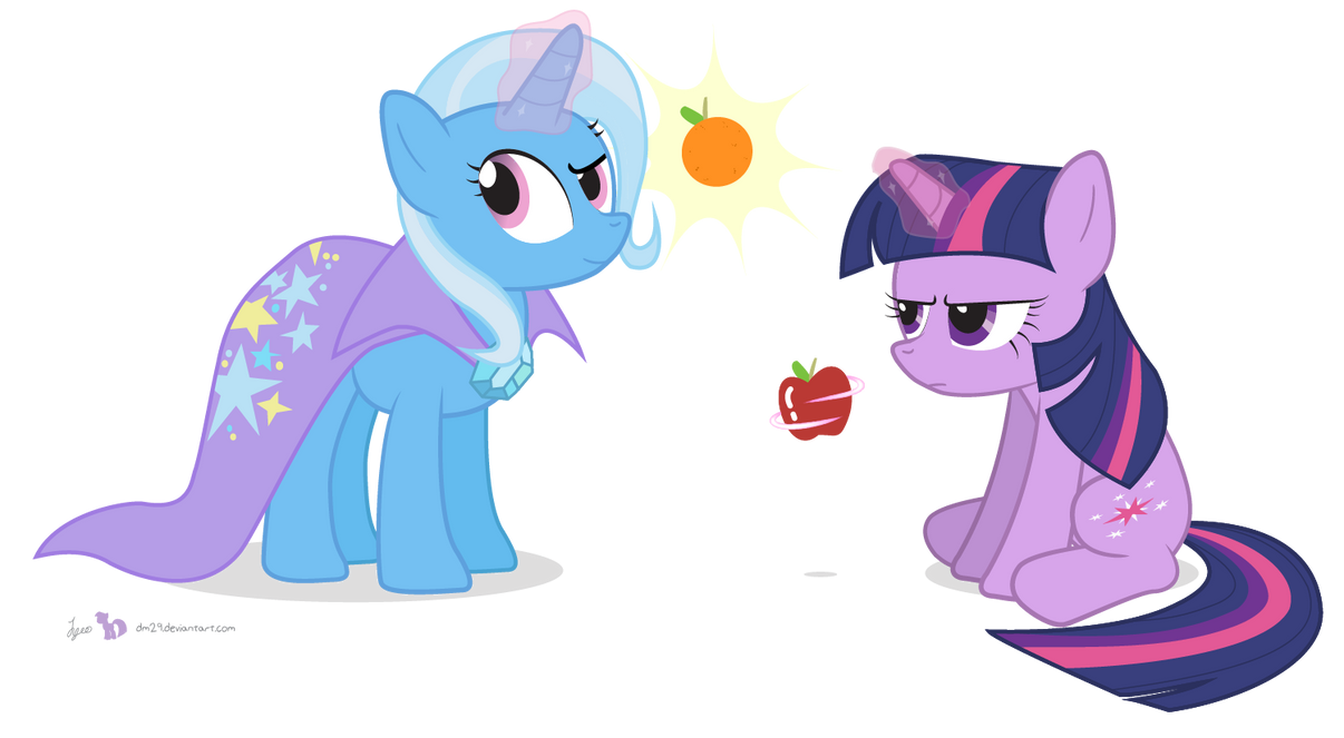 Twilight and Trixie in 'Apples and Oranges' by dm29