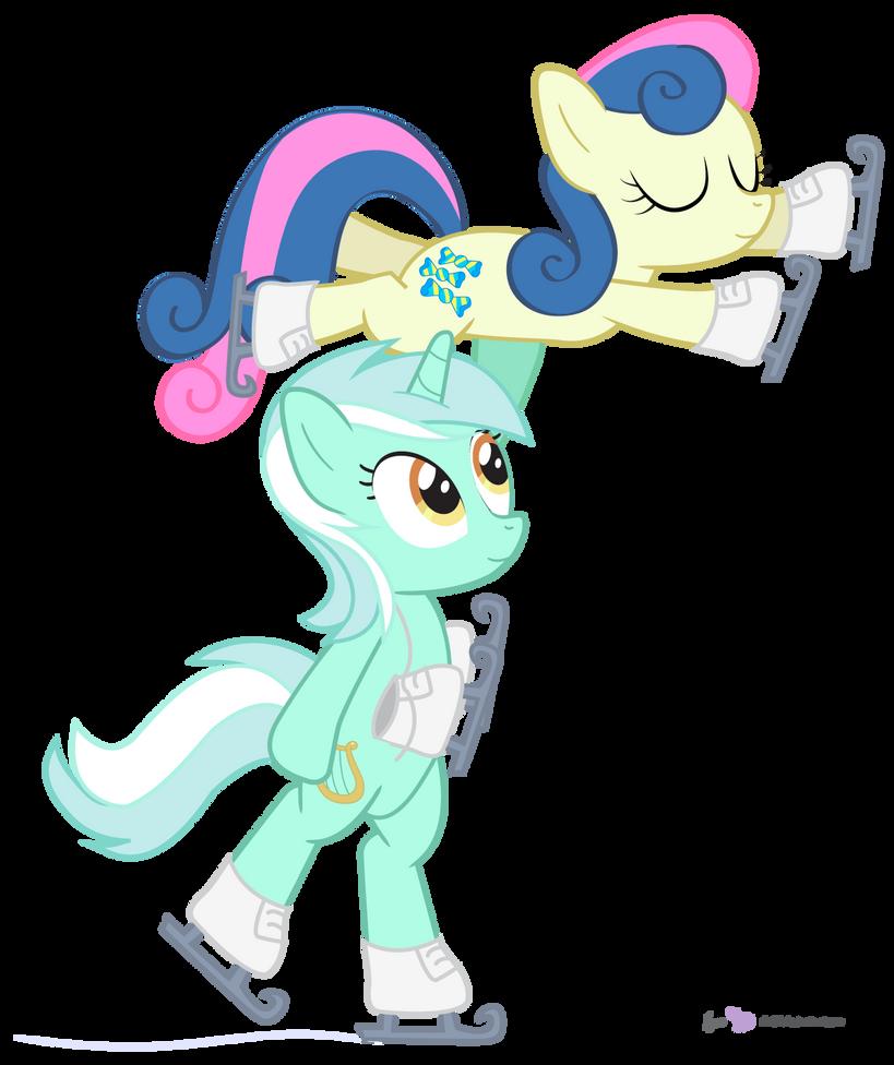Lyra and Bon Bon in 'Figureskaters' by dm29