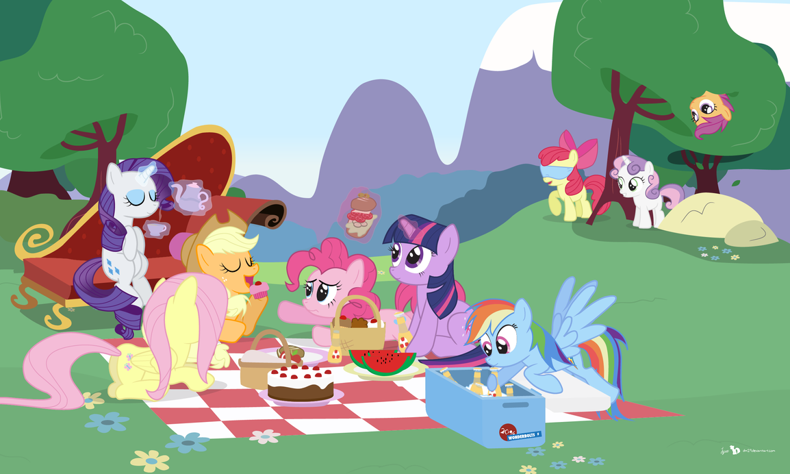 Mane Six Picnic Party by dm29