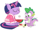 Twilight and Spike in 'Sushi Appreciation'