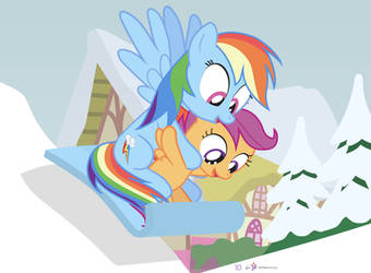 #dm29HolidayHorse Day 10: Rainbow Dash + Scootaloo