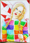 blonde in rainbow