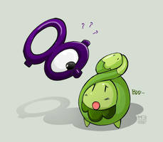 Unown and Budew by MeAndMyRobot