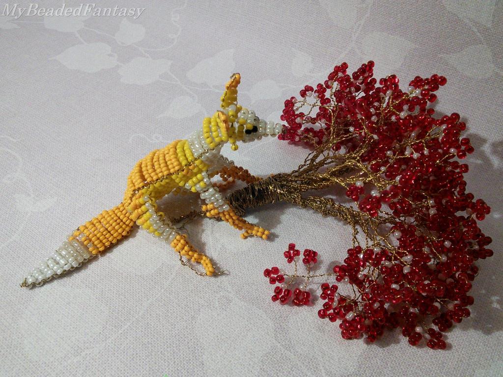 beaded yellow fox by mybeadedfantasy on deviantart