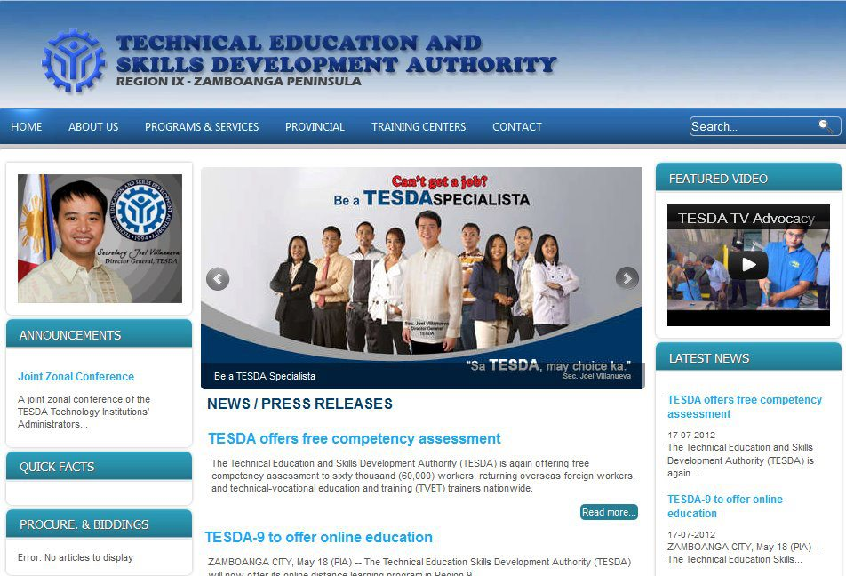 TESDA IX Website by ryannzelumba ...