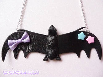 Pastel decora bat necklace by Pastelhorror