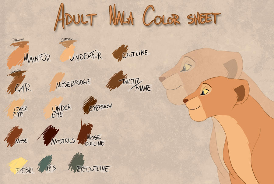 Adult Nala color sheet by Takadk