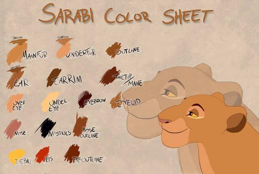 Sarabi color sheet