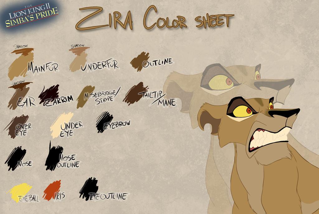 Zira color sheet by Takadk on DeviantArt