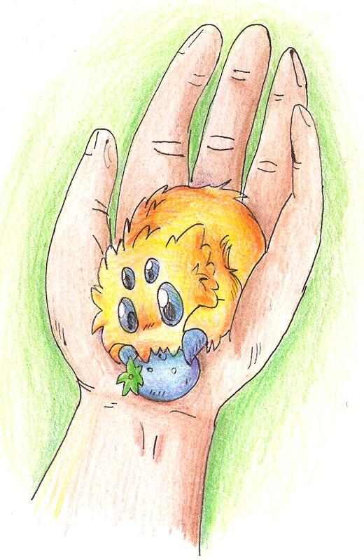 Joltik in hand by eternalsaturn