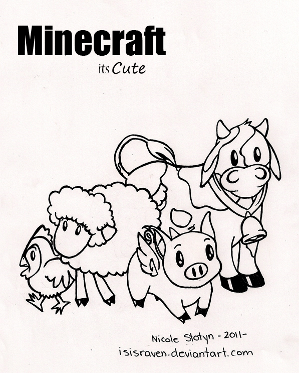 Minecraft Coloring Page by isisraven