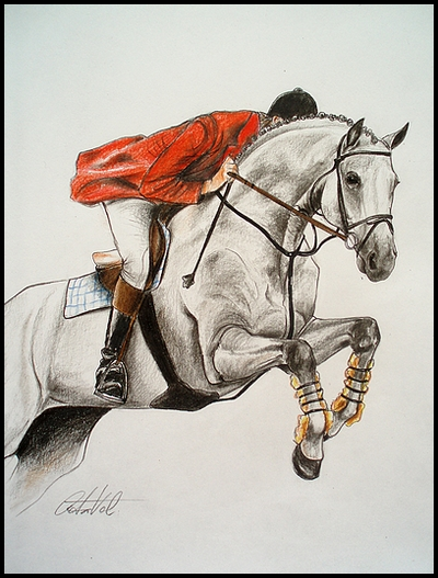 Drawing- horse with rider by Ennete