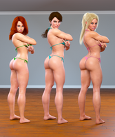 Threesome 01 (Heather Laura Gwen) by H3DX