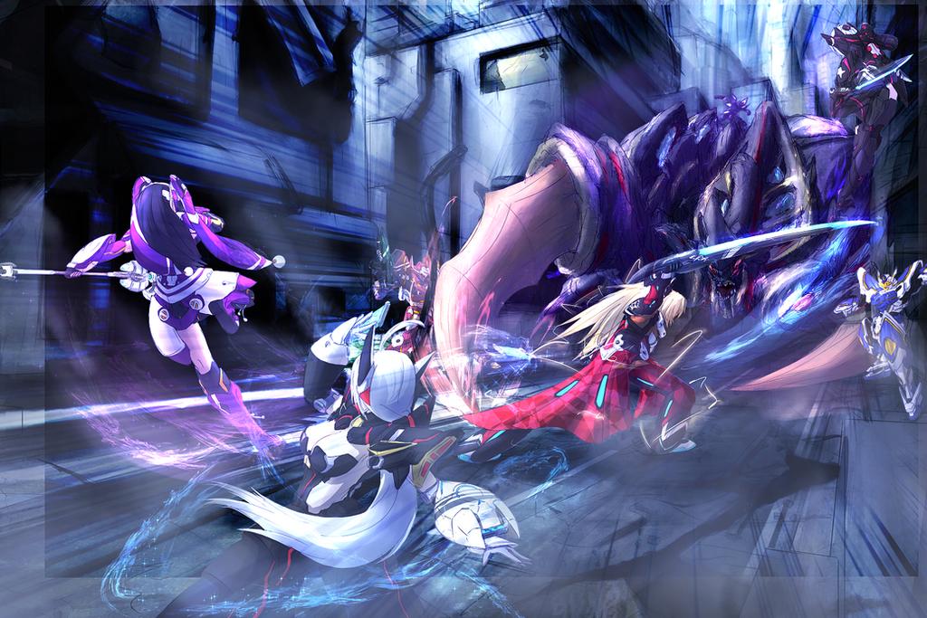 Phantasy Star Online Wallpaper: PSO2 Battle By Drako9 On DeviantArt