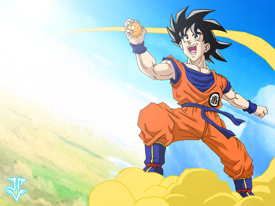 It's just a graphic of Adorable Goku On Nimbus Drawing