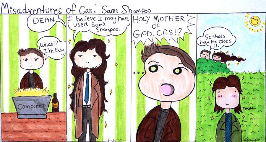 Misadventures Of Cas: Sams shampoo by AlulaDreamsArt
