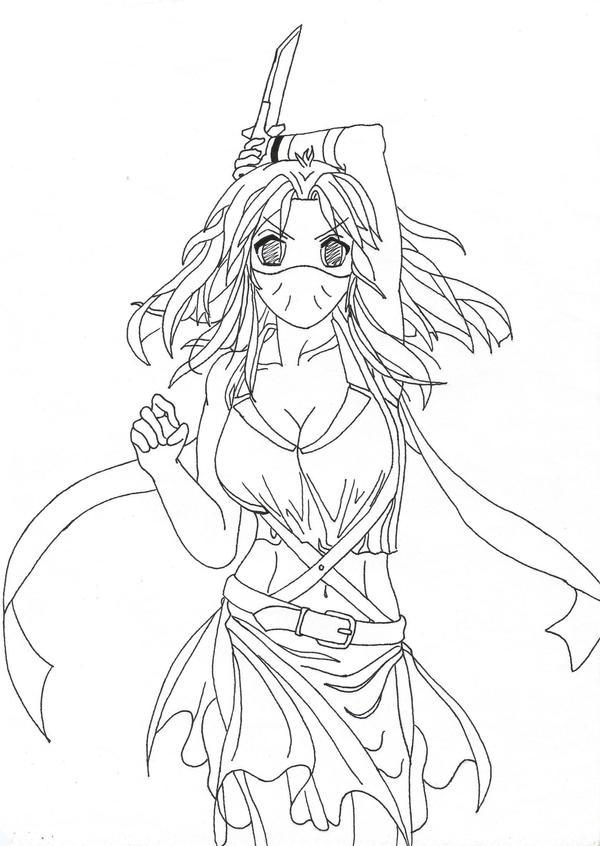 Line Art Ninja : Anime female ninja by mrcandefinitely on deviantart