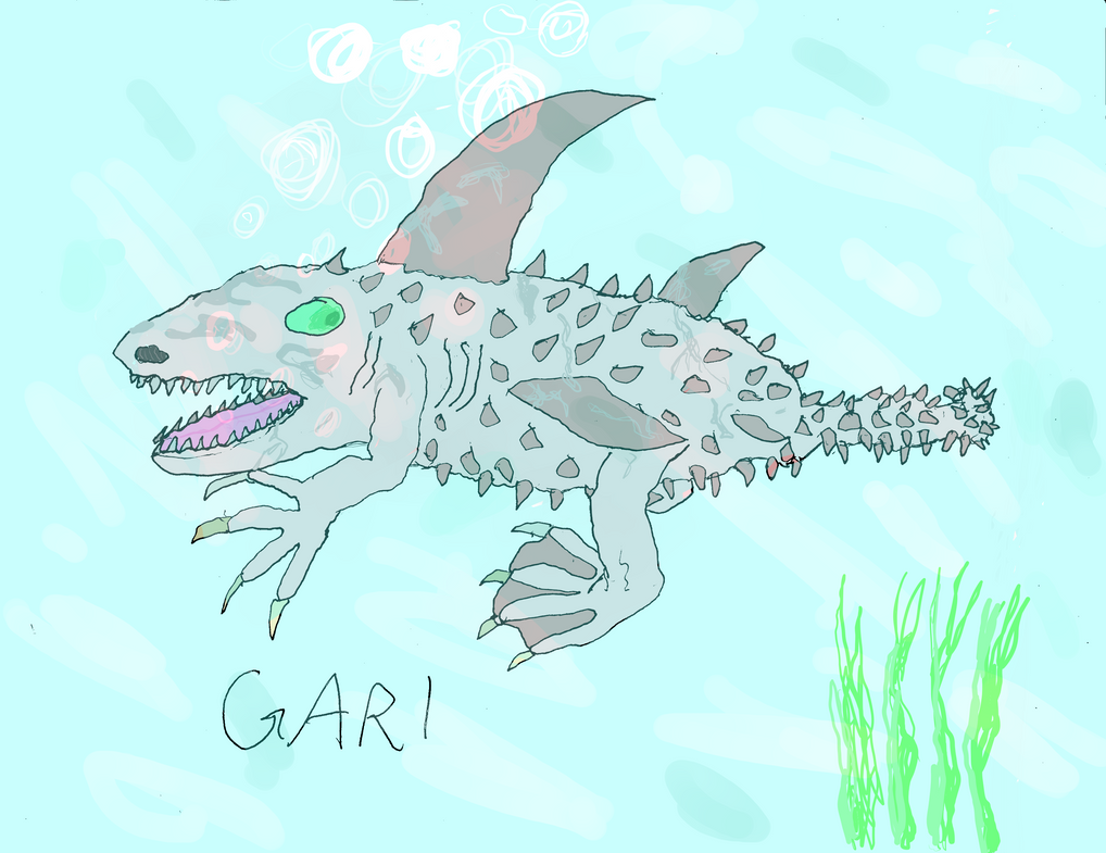 Gari, resembles a cross between a shark and an ankylosaurus
