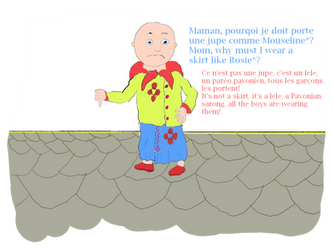 Caillou en tenue pavonien/in Pavonian clothing by Raakone