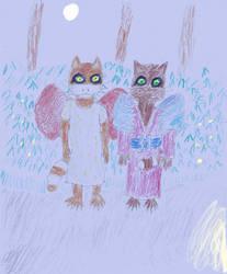 Bobby and Sarona (young) at night by Raakone
