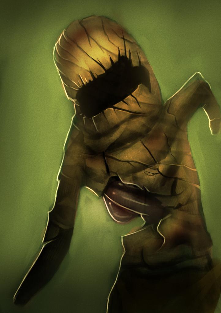 DSG 1626: Creature • CREEPY FACELESS BEAST HAS TATTERED, RUSTING, FLESH