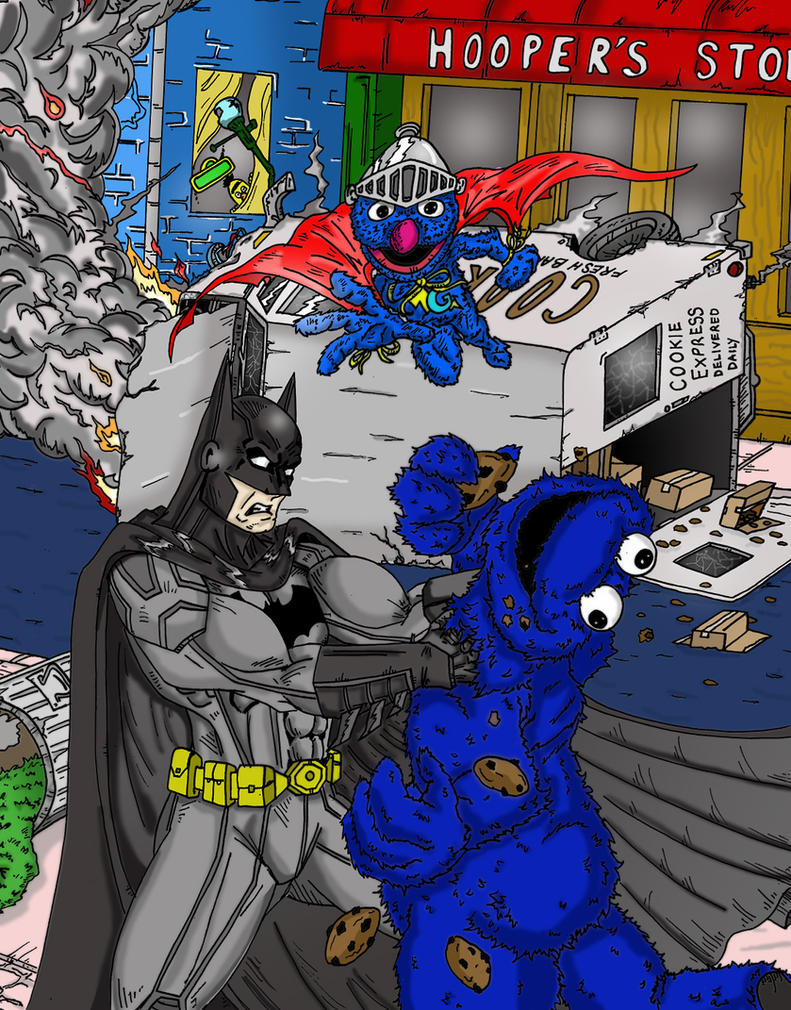Batman And Super Grover Team-up by MattyMo