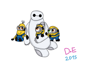 Baymax and The Minions (Crossover) by Dulcechica19