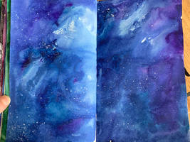 blue galaxy art journal page