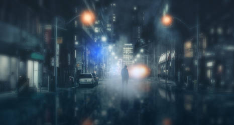 Wet City NIghtscape by ChiaraLily9