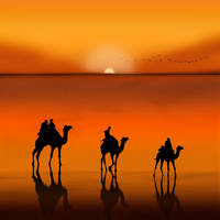 Sunset Camel Caravan by ChiaraLily9