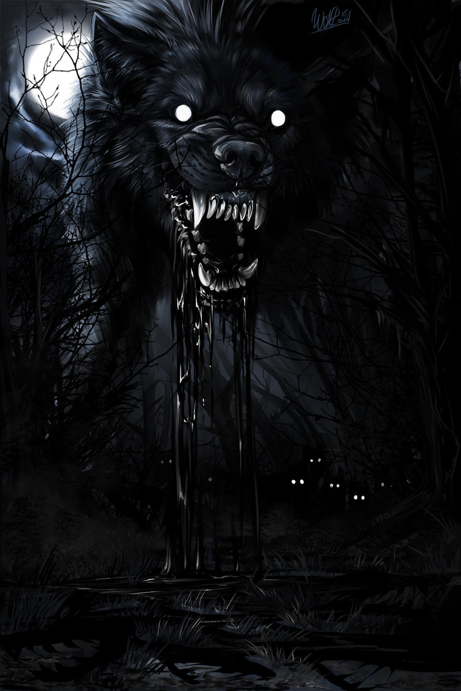 Angry Black Wolf With ...