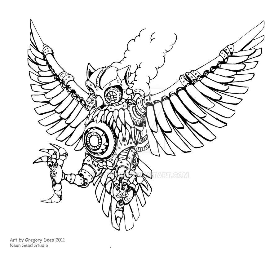 Steam Owl Tattoo by GTDees