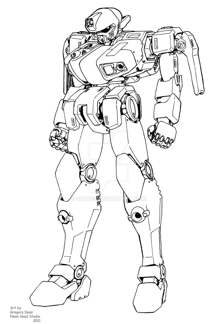 Panther mecha lineart by GTDees
