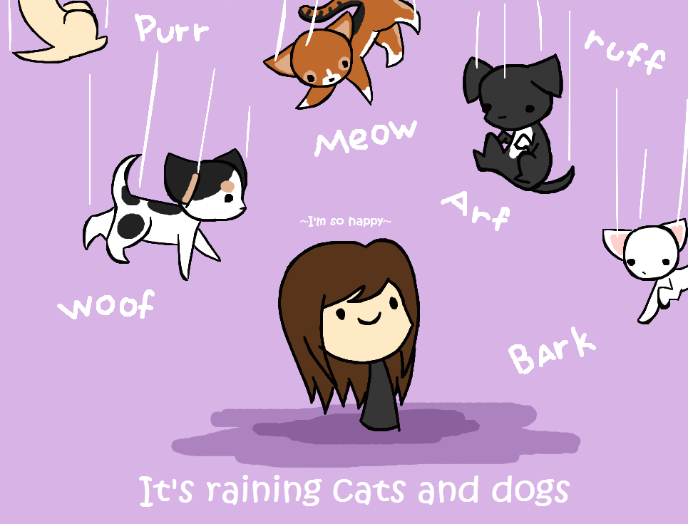 Drawing Of Raining Cats And Dogs