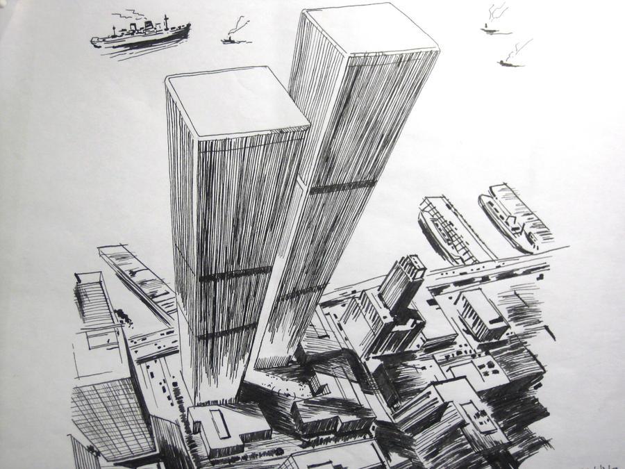 pen drawing New York buildings by wwei