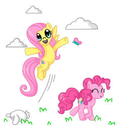Fluttershy and Pinkiepie stroll Commission by SilverHedgie