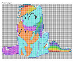 Rainbow Dash Hugging Scootaloo Pixel Art Design by xxchippy13xx