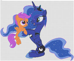 Princess Luna and Scootaloo Pixel art by xxchippy13xx