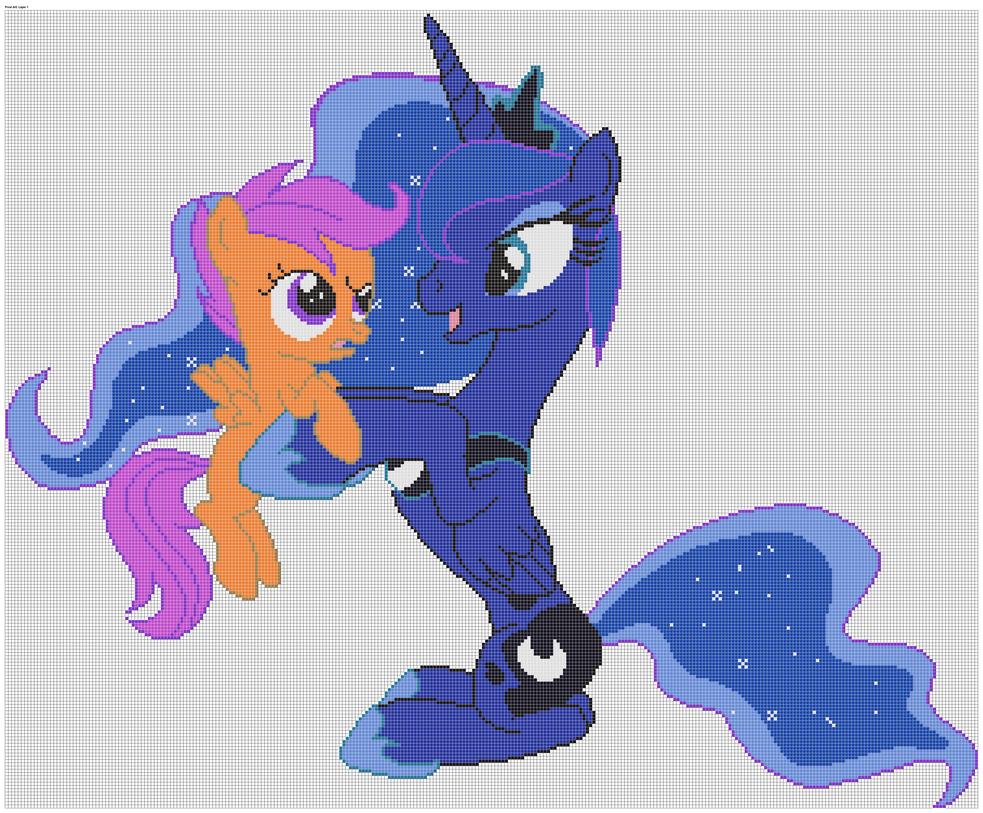 Princess Luna And Scootaloo Pixel Art By Xxchippy13xx On Deviantart