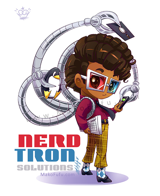 .: Chibi Nerdtron :. Commission by Mako-Fufu