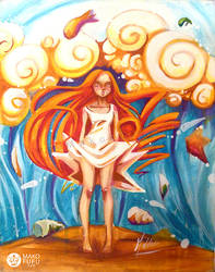 The Big Wave - Acrylics by Mako-Fufu